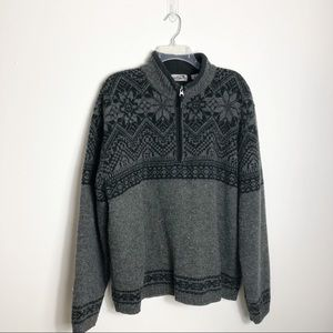 Obermeyer 100% Wool Nordic 1/4 Zip Ski Sweater